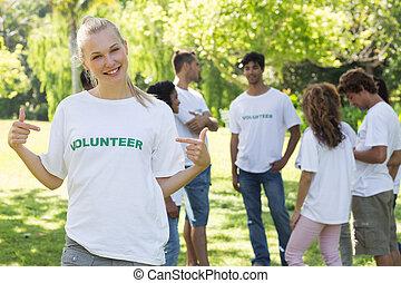 美しい, tshirt, 指すこと, ボランティア