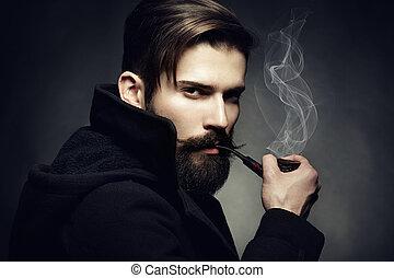 美しい, tube., たばこを吸う, 若い, の上, 暗い, 芸術的, 肖像画, 終わり, man., 人