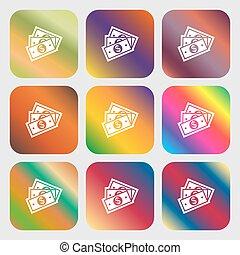 美しい, u.s, ドル, ボタン, 明るい, ベクトル, 9, icon., gradients, design.