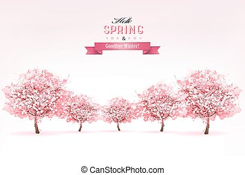 美しい, vector., 自然, 春, 背景, 木。