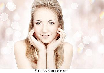 美しい, woman., 上に, 若い, クローズアップ, 背景, 肖像画, 微笑, 光沢がある, 抽象的