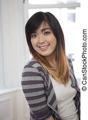 美しい, woman., 若い, アジア人