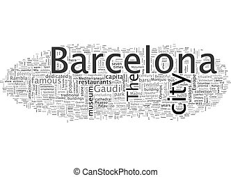 美しい, wordcloud, 概念, ガイド, バルセロナ, 背景, 旅行, 容易である, テキスト