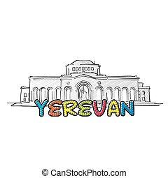 美しい, yerevan, アイコン, sketched