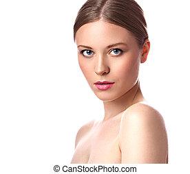 美しさスパ, 構造, 女, ∥で∥, ピンク, lipstick., ブロンド, hairstyle., クローズアップ, 明るい, 隔離された, 肖像画, 白, 背景