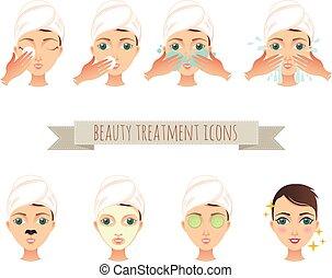 美しさマスク, イラスト, 顔, 待遇, 心配