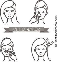 美しさマスク, ニキビ, アイコン, 待遇, 顔, 清掃