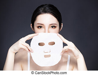 美しさマスク, 若い, 顔, クローズアップ, 美顔術