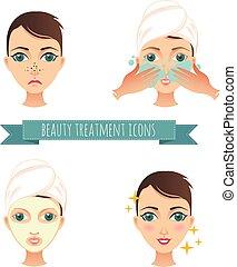 美しさマスク, 顔, 待遇, 心配, イラスト