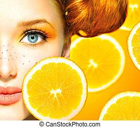 美しさ, そばかす, 水分が多い, oranges., 女の子, モデル