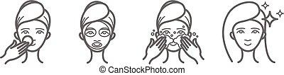 美しさ, アイコン, セット, マスク, 顔, 待遇, 心配