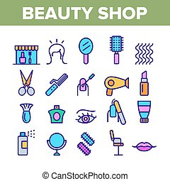 美しさ, アイコン, ベクトル, 色, 要素, 店, セット, コレクション