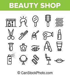美しさ, アイコン, ベクトル, 要素, 店, セット, コレクション