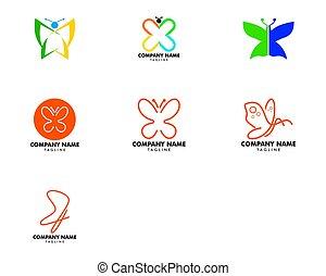美しさ, デザインを設定しなさい, 蝶, テンプレート, ベクトル, アイコン, ロゴ