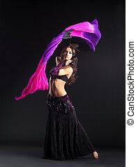 美しさ, 伝統的である, アラビア人, ポーズを取る, 衣装, 女の子
