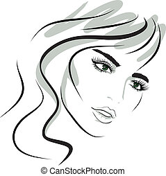 美しさ, 女の子, face., デザイン, elements.