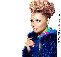 美しさ, 女性の 肖像画, 中に, ファッション, 青, 毛皮コート
