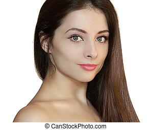 美しさ, 女, ∥で∥, 滑らかである, 健康, 毛, 隔離された, 白, バックグラウンド。, クローズアップ, 肖像画