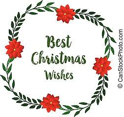 美しさ, 最も良く, 花, レタリング, 創造的, 願い, frame., クリスマス装飾, ベクトル, 赤