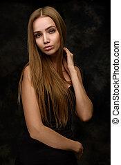 美しさ, 肖像画, の, a, 若い女性, ∥で∥, 長い髪