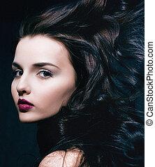 美しさ, 若い, ブルネット, 女, ∥で∥, 巻き毛, 飛行の毛, femme, 致命的