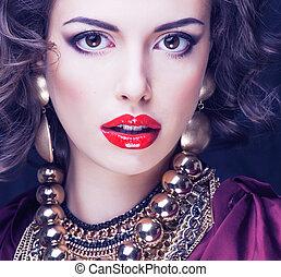 美しさ, 豊富, ブルネット, 女, ∥で∥, 大いに, の, 宝石類