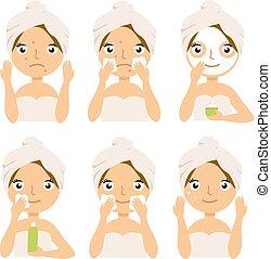 美しさ, concept., マスク, 顔, 待遇, 皮膚, set., プロシージャ, 心配