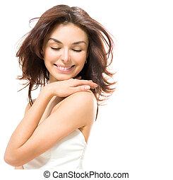 美しさ, woman., 美しい, 若い, 女性, 感動的である, 彼女, 皮膚