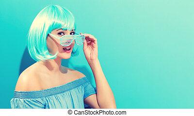 美丽的妇女, 在中, a, 明亮的蓝色, 假发