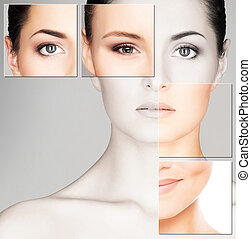 美丽的妇女, 容貌, spa, 健康, concept), (plastic, 年轻, 外科, 药, 肖像, 化妆品