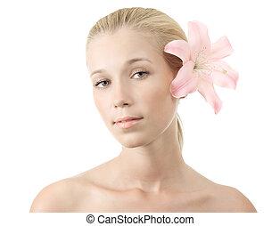 美丽的妇女, 年轻, 花, blonde, 百合花