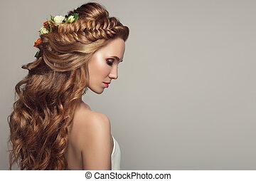 美丽的妇女, 年轻, , flowers., 关闭, 肖像