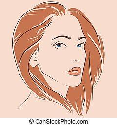 美丽的妇女, 描述, 矢量, 脸