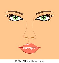 美丽的妇女, 脸