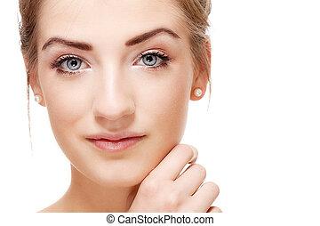美丽的妇女, 自然, 脸, closeup, 肖像