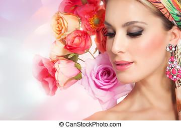 美丽的妇女, 花