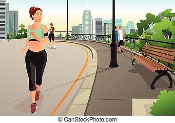 美丽的妇女, 跑, 在中, a, 公园, 在城市