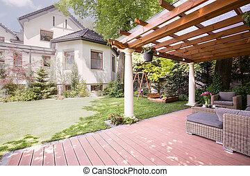 美丽, 住处, 带, 花园