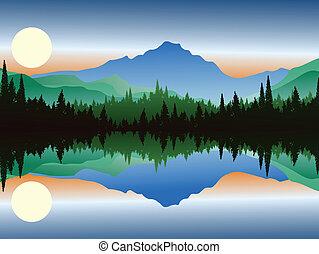 美丽, 侧面影象, 在中, 松树, 同时,, 湖