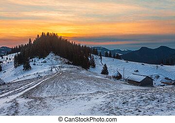 美丽, 冬季, 日出, 在山