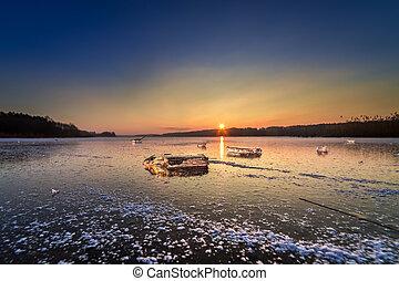 美丽, 冻结湖, 冰, 日落, 块