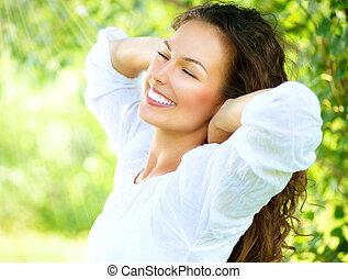 美丽, 喜欢, 妇女, 性质, outdoor., 年轻