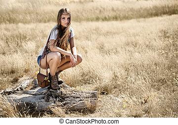 美丽, 坎去, 坐, 树, 年轻, 嬉皮士, 女孩, 正午