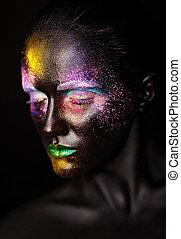 美丽, 塑料, 不寻常, 妇女, 艺术, 色彩丰富, 照片, 构成, 伪装, 脸, 明亮, 黑色, 模型, 创造性