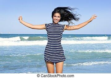 美丽, 夏天, 浅黑型, 跳跃, 女孩, 海滩