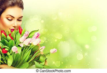 美丽, 女孩, 带, a, 花束, 在中, 色彩丰富, 郁金香, 花
