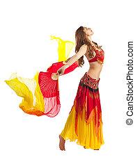 美丽, 女孩, 跳舞, 带, fantail, 在中, 东方, 服装
