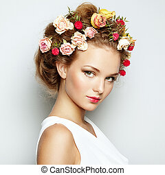 美丽, 完美, 妇女, 美丽, 照片, flowers., 脸, skin., 方式, portrait.