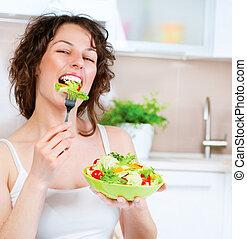 美丽, 少女, 吃, 蔬菜, salad., 节食, 概念