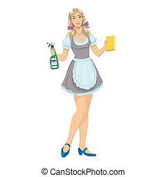 美丽, 少女, 女孩, 清洁工